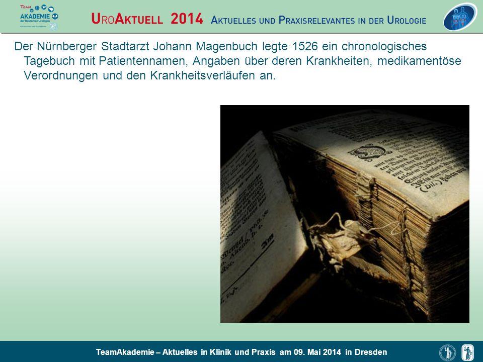 Der Nürnberger Stadtarzt Johann Magenbuch legte 1526 ein chronologisches Tagebuch mit Patientennamen, Angaben über deren Krankheiten, medikamentöse Verordnungen und den Krankheitsverläufen an.