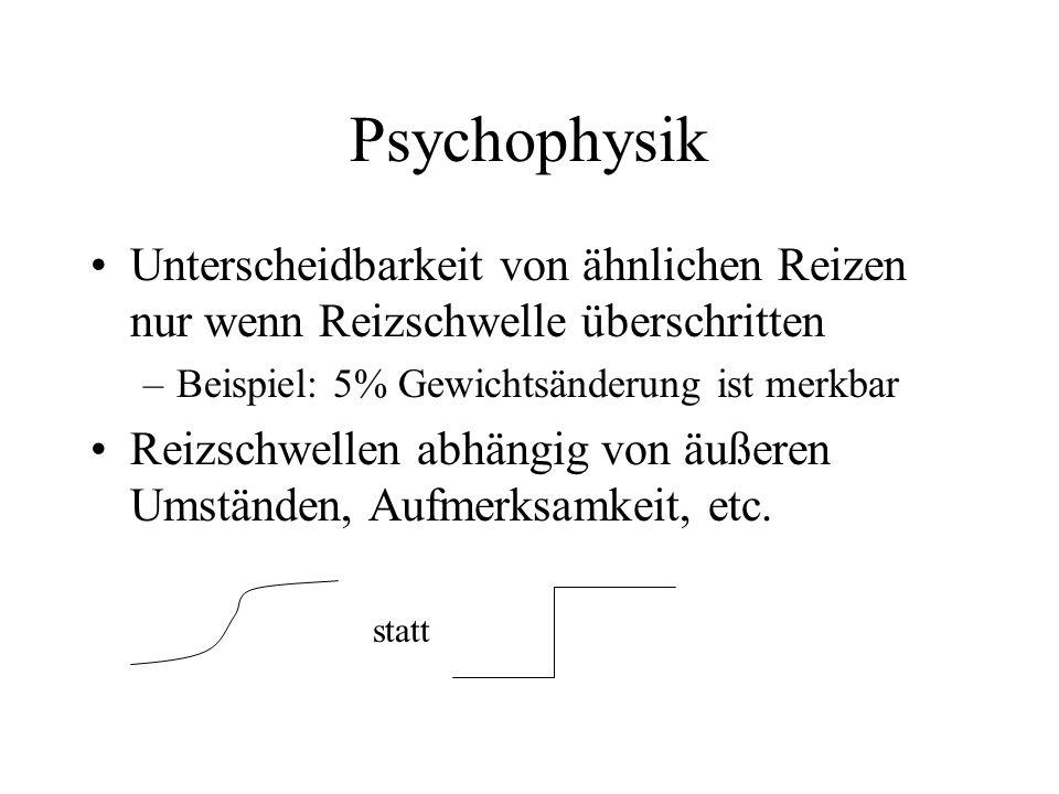 Psychophysik Unterscheidbarkeit von ähnlichen Reizen nur wenn Reizschwelle überschritten. Beispiel: 5% Gewichtsänderung ist merkbar.