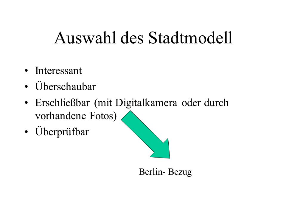 Auswahl des Stadtmodell