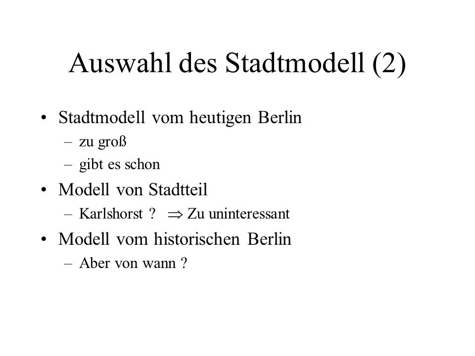 Auswahl des Stadtmodell (2)