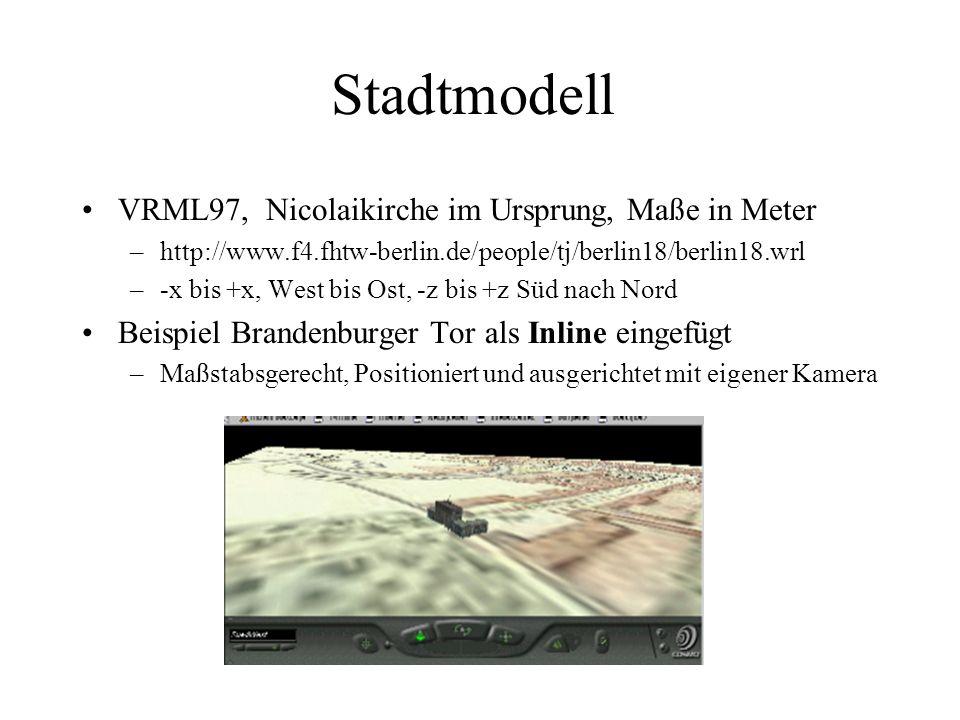 Stadtmodell VRML97, Nicolaikirche im Ursprung, Maße in Meter