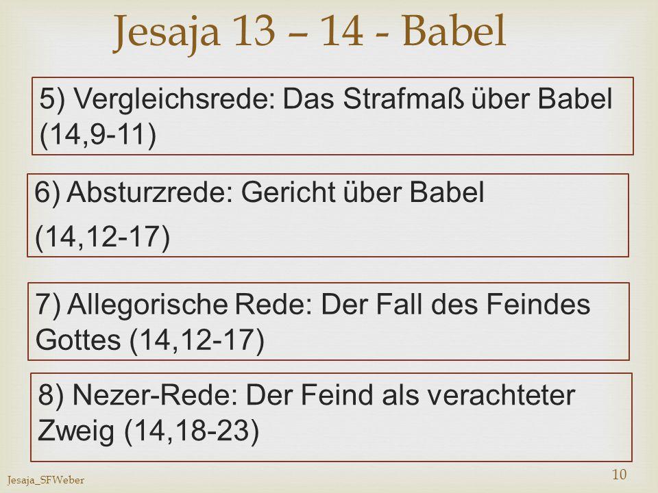 Jesaja 13 – 14 - Babel 5) Vergleichsrede: Das Strafmaß über Babel (14,9-11) 6) Absturzrede: Gericht über Babel.