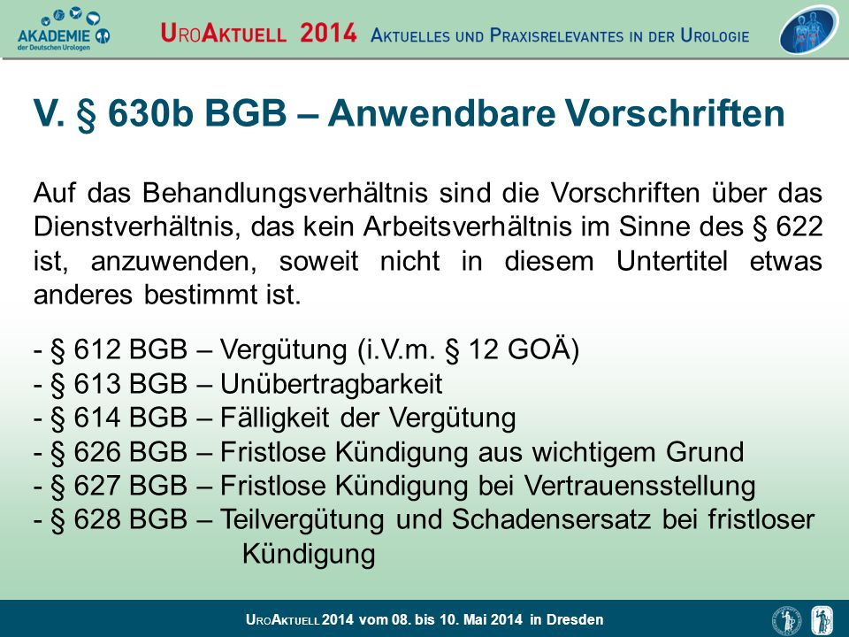 V. § 630b BGB – Anwendbare Vorschriften