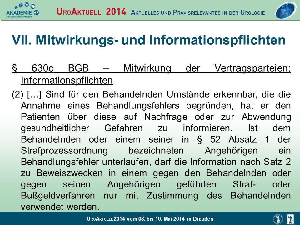 VII. Mitwirkungs- und Informationspflichten