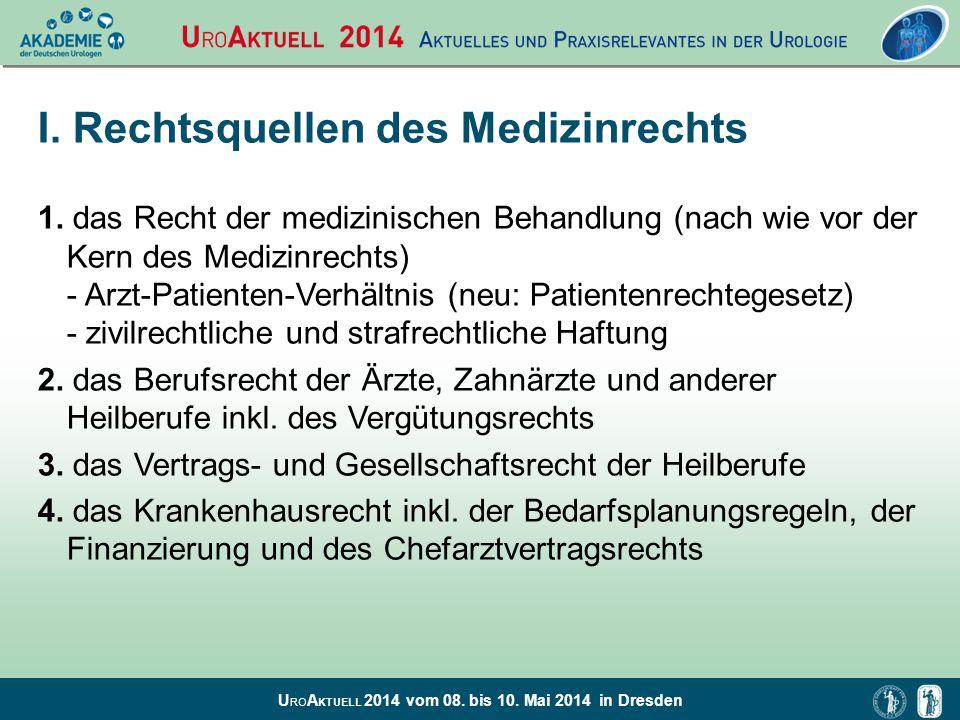 I. Rechtsquellen des Medizinrechts