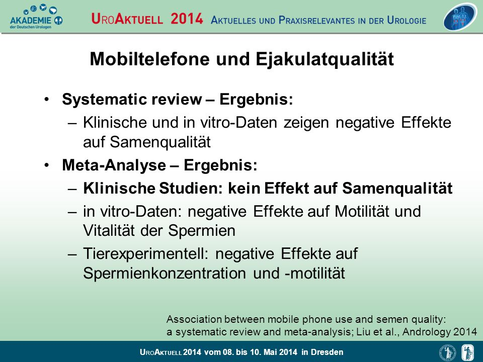 Mobiltelefone und Ejakulatqualität