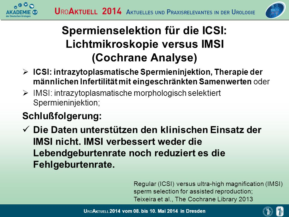 Spermienselektion für die ICSI: Lichtmikroskopie versus IMSI (Cochrane Analyse)