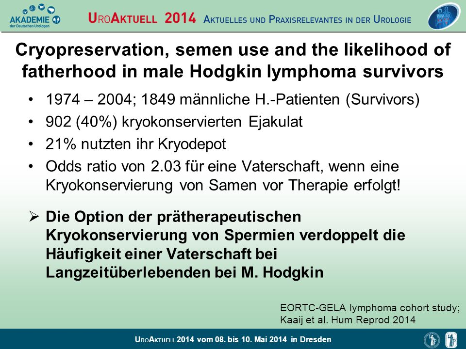 Cryopreservation, semen use and the likelihood of fatherhood in male Hodgkin lymphoma survivors