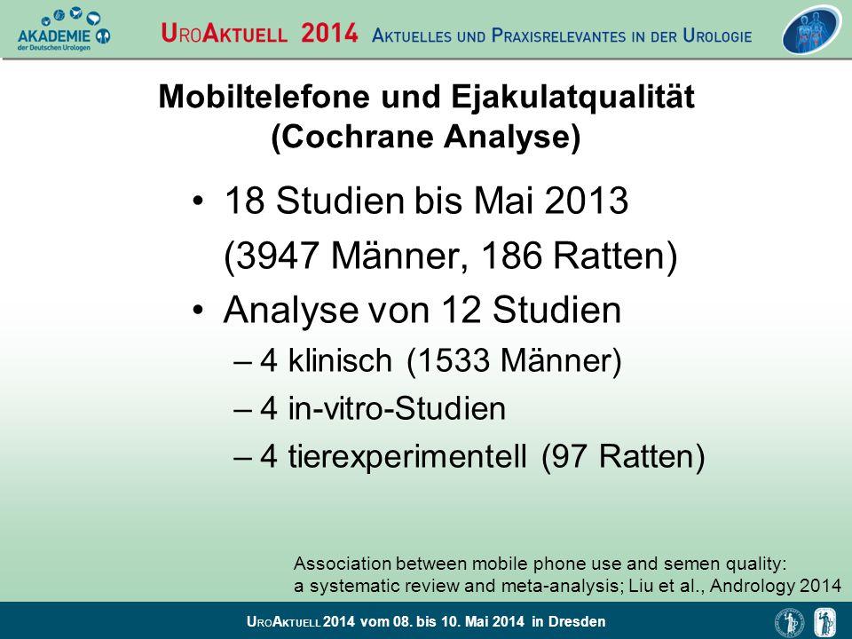 Mobiltelefone und Ejakulatqualität (Cochrane Analyse)