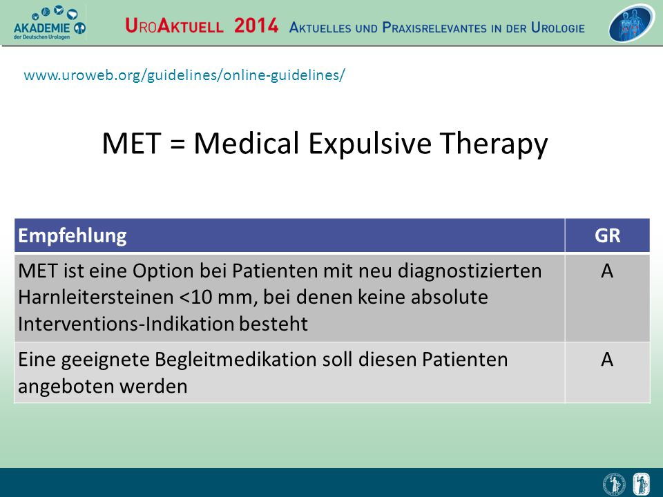MET = Medical Expulsive Therapy