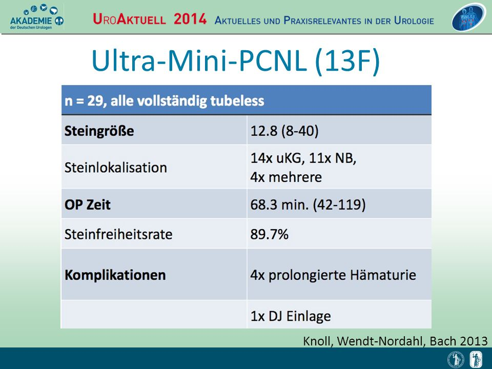 Ultra-Mini-PCNL (13F) Knoll, Wendt-Nordahl, Bach 2013