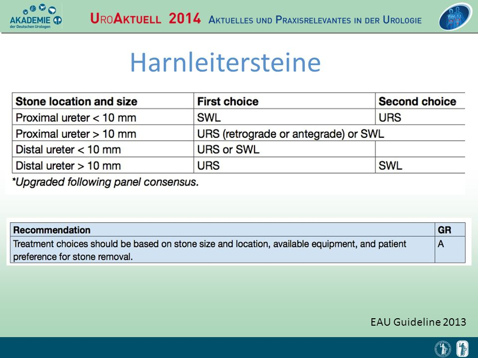 Harnleitersteine EAU Guideline 2013 Reduzierung von Komplikationen