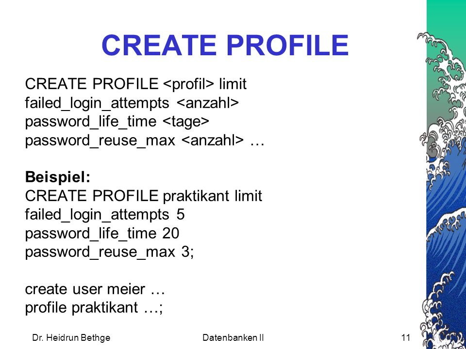 CREATE PROFILE CREATE PROFILE <profil> limit