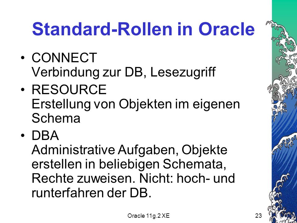 Standard-Rollen in Oracle