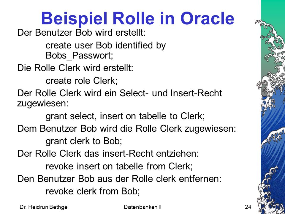 Beispiel Rolle in Oracle
