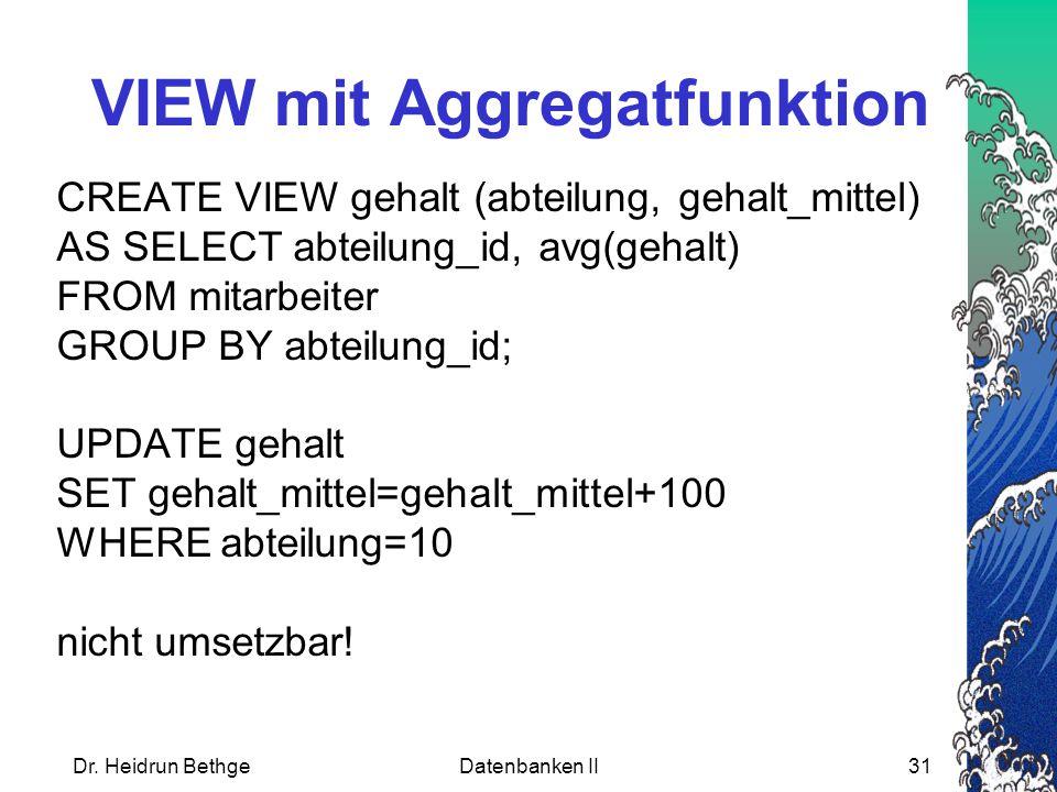 VIEW mit Aggregatfunktion