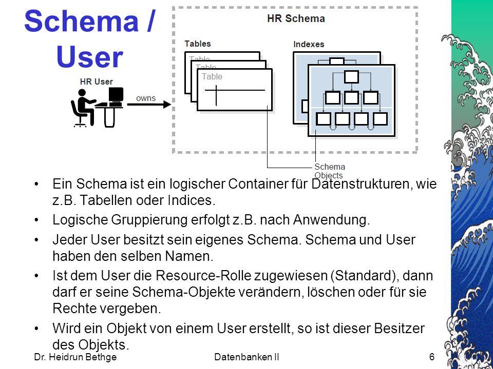 Schema / User Ein Schema ist ein logischer Container für Datenstrukturen, wie z.B. Tabellen oder Indices.