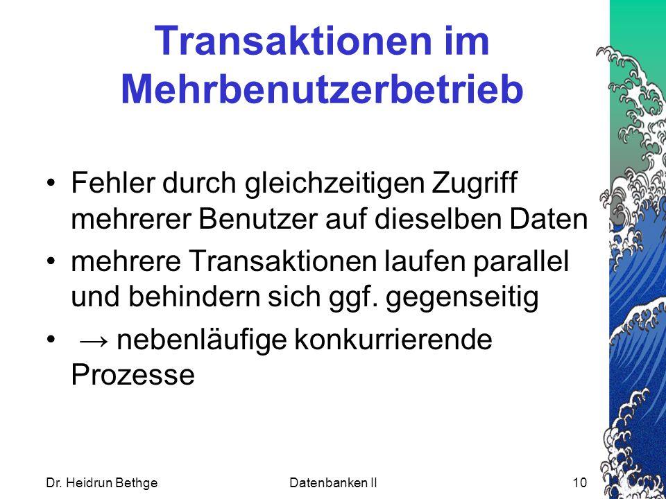 Transaktionen im Mehrbenutzerbetrieb