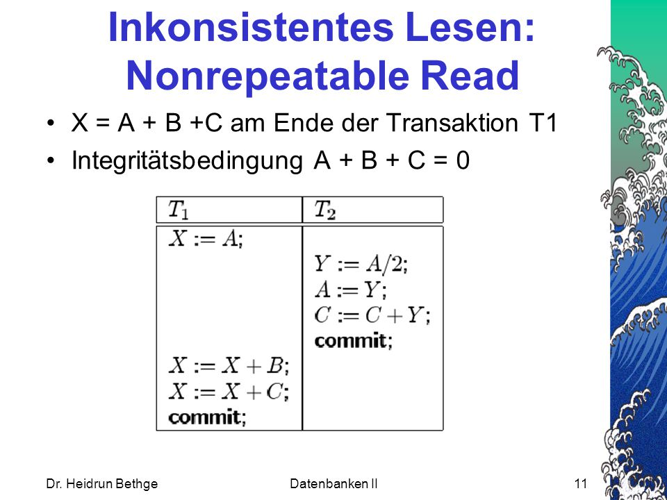 Inkonsistentes Lesen: Nonrepeatable Read