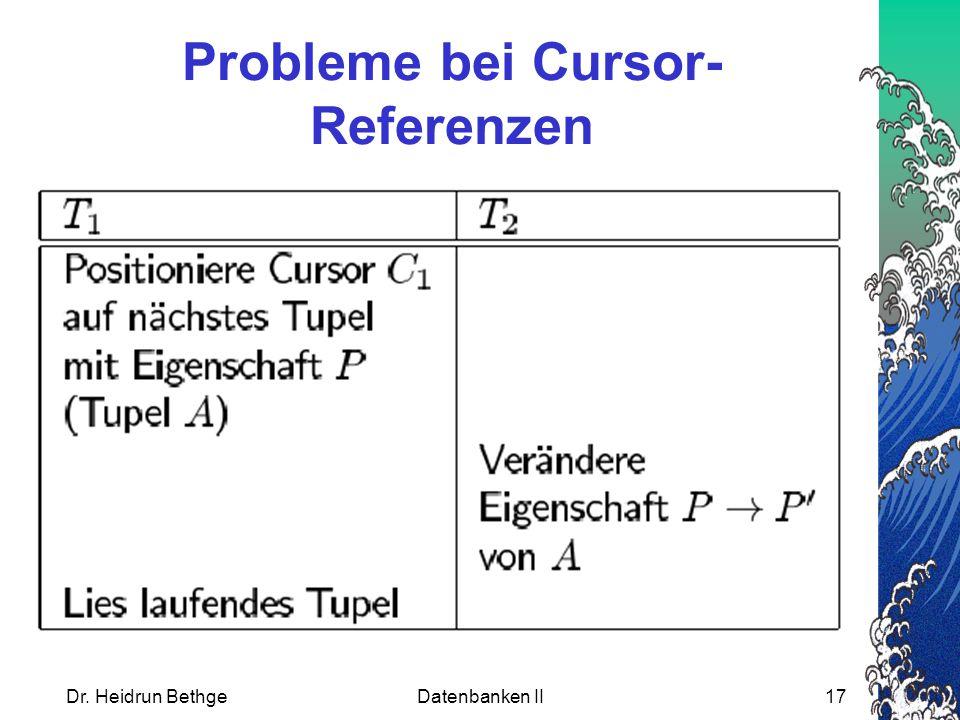 Probleme bei Cursor-Referenzen