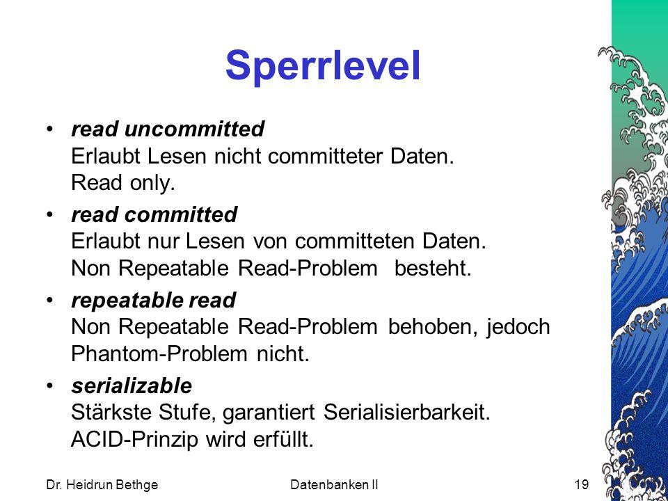 Sperrlevel read uncommitted Erlaubt Lesen nicht committeter Daten. Read only.