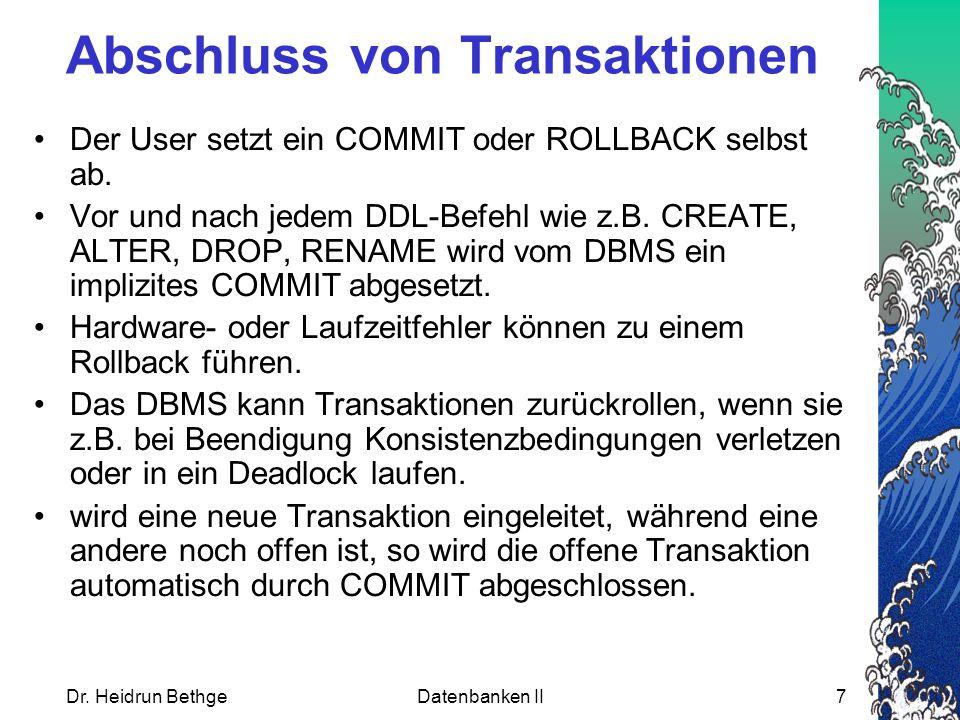 Abschluss von Transaktionen