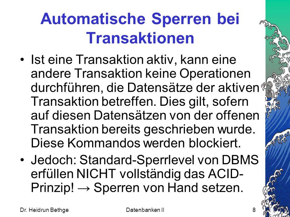 Automatische Sperren bei Transaktionen
