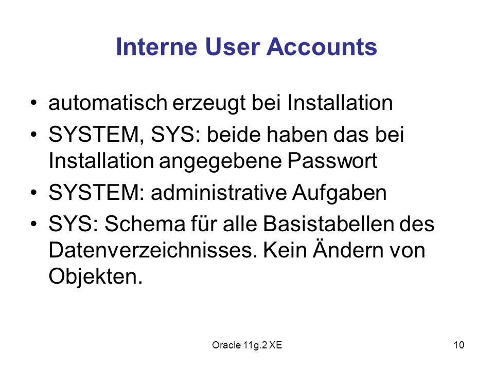 Interne User Accounts automatisch erzeugt bei Installation