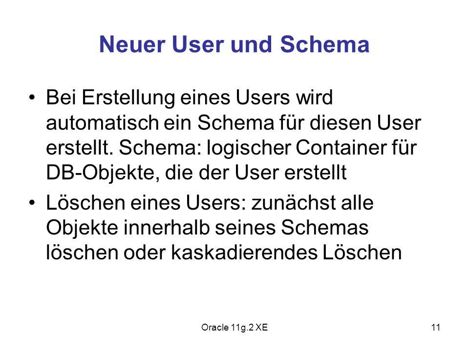 Neuer User und Schema