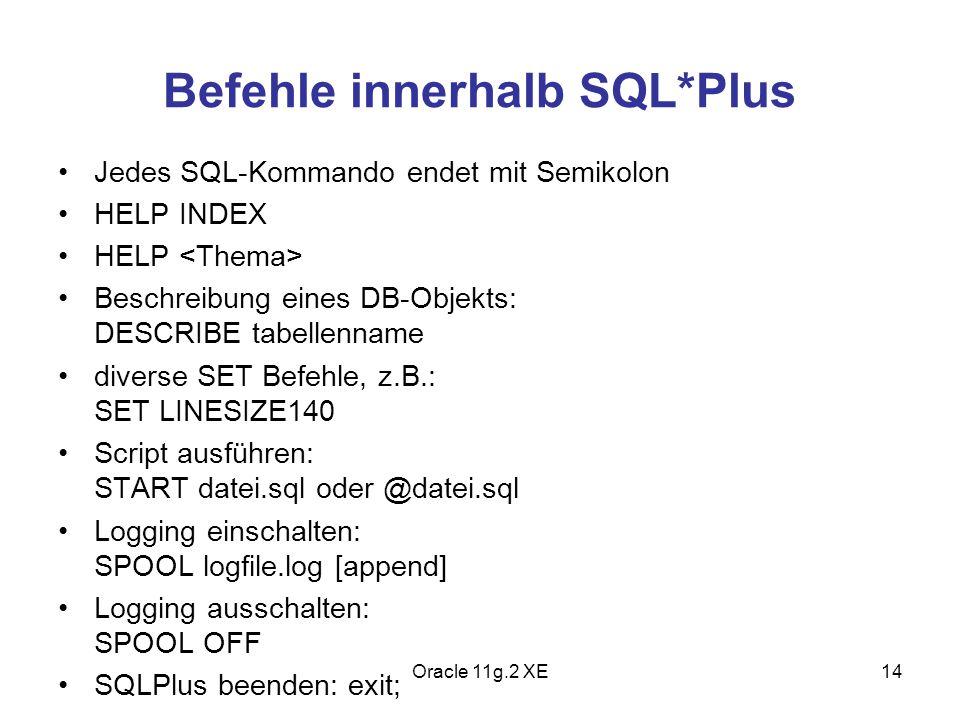 Befehle innerhalb SQL*Plus