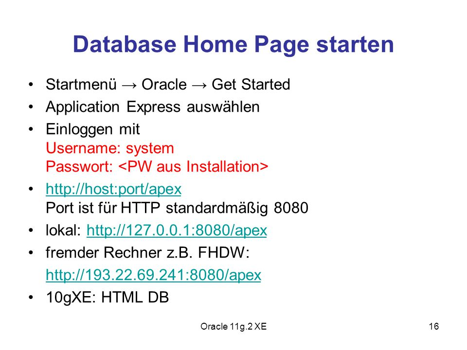 Database Home Page starten