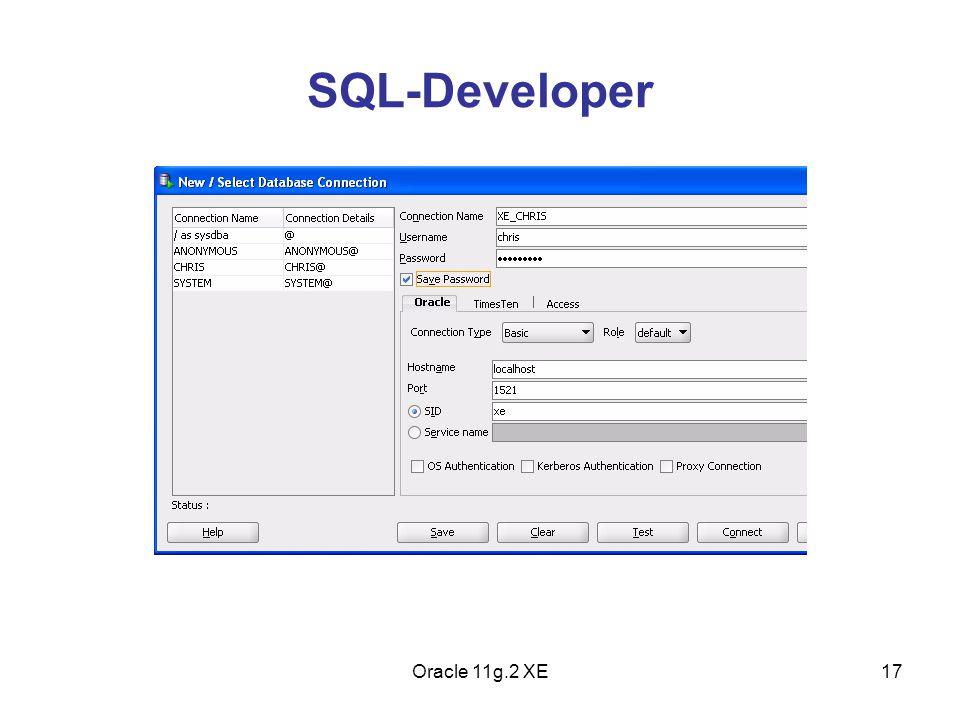 SQL-Developer Oracle 11g.2 XE