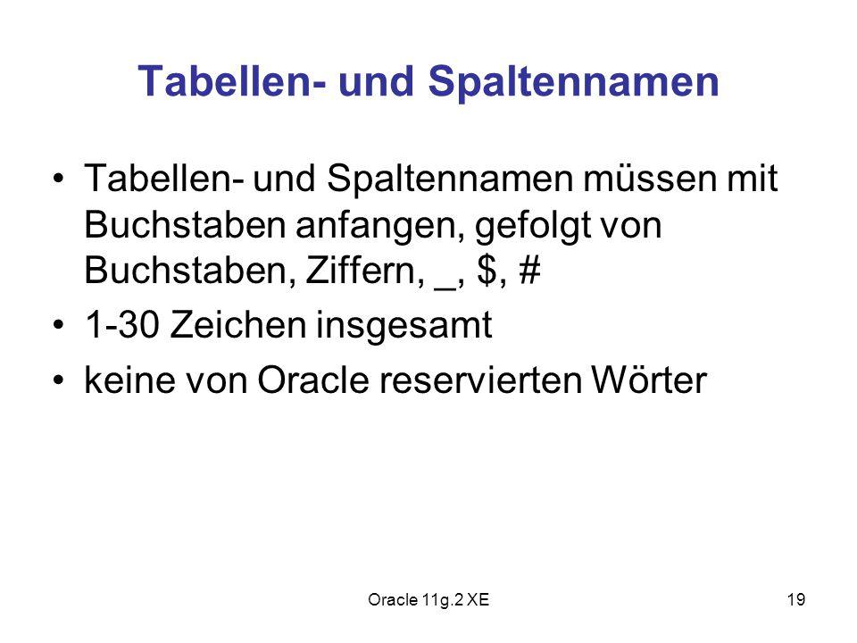 Tabellen- und Spaltennamen