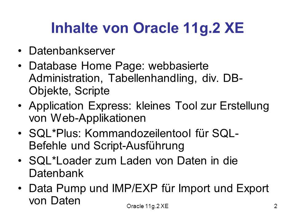 Inhalte von Oracle 11g.2 XE Datenbankserver
