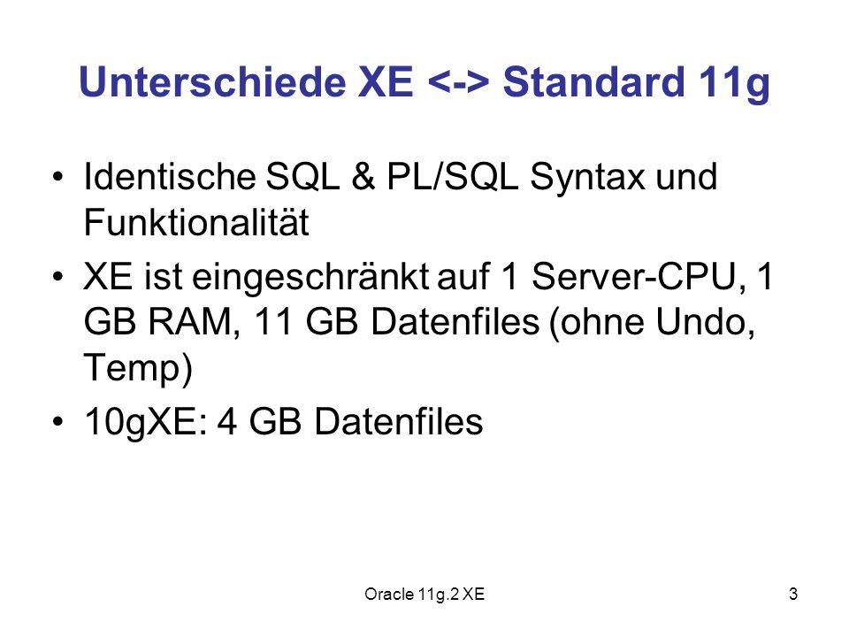 Unterschiede XE <-> Standard 11g