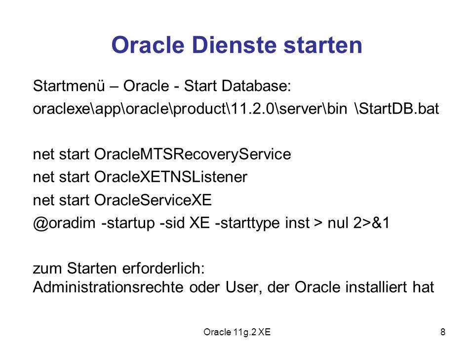 Oracle Dienste starten