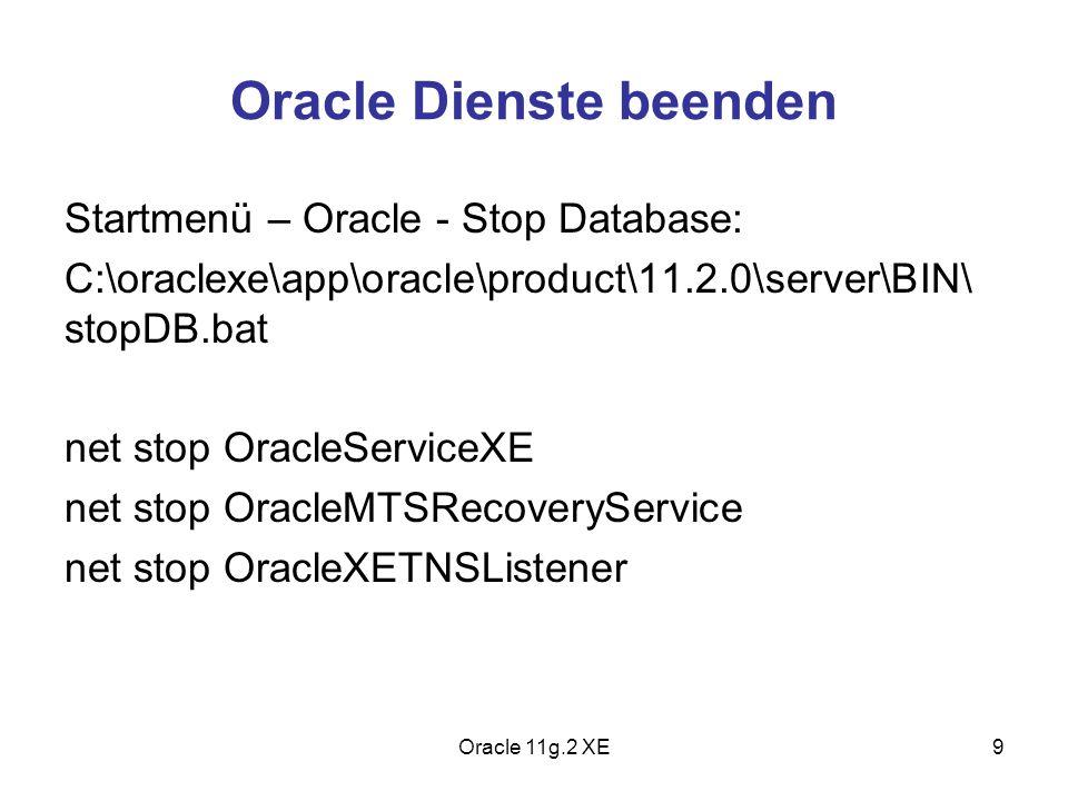 Oracle Dienste beenden