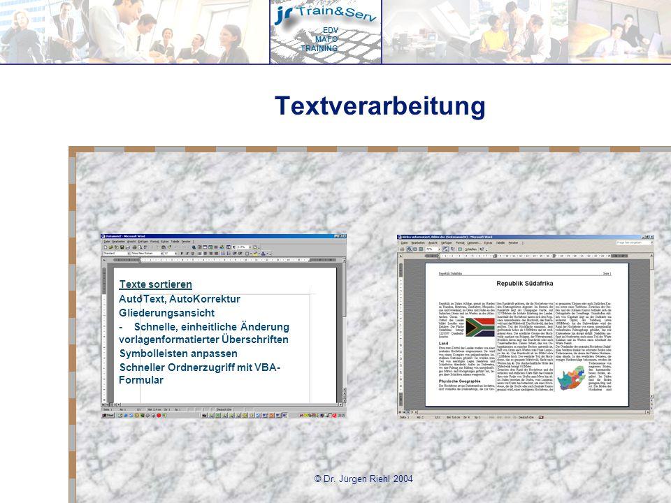 Textverarbeitung Texte sortieren AutoText, AutoKorrektur