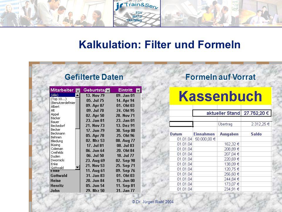 Kalkulation: Filter und Formeln