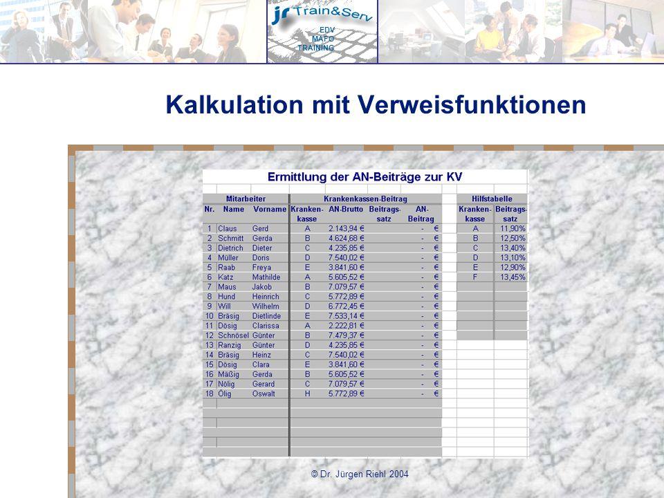 Kalkulation mit Verweisfunktionen