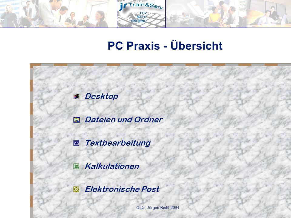 PC Praxis - Übersicht Desktop Dateien und Ordner Textbearbeitung