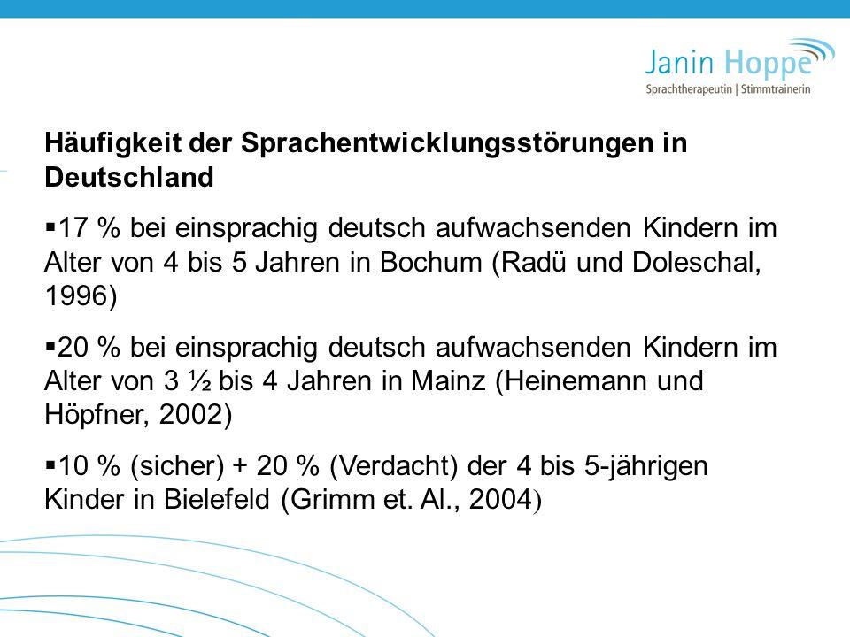 Häufigkeit der Sprachentwicklungsstörungen in Deutschland