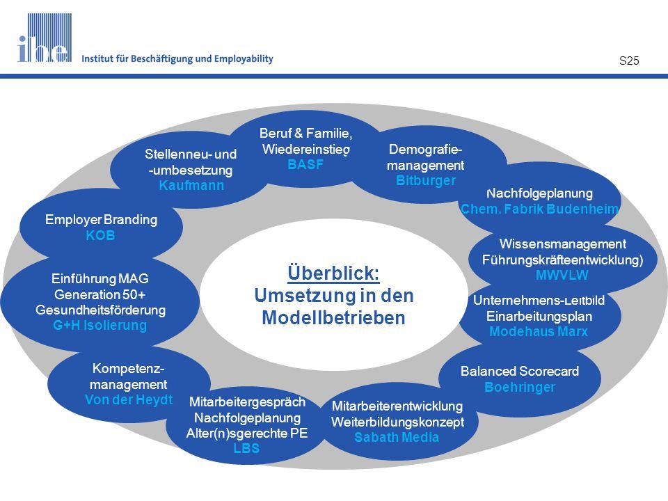 Überblick: Umsetzung in den Modellbetrieben