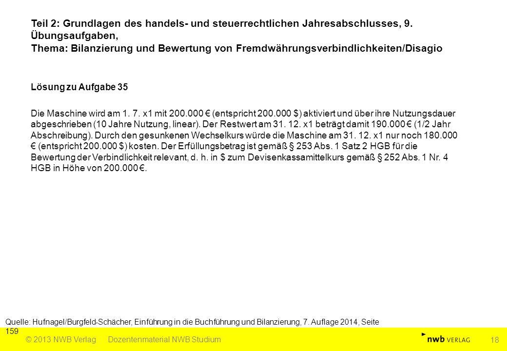 Teil 2: Grundlagen des handels- und steuerrechtlichen Jahresabschlusses, 9. Übungsaufgaben, Thema: Bilanzierung und Bewertung von Fremdwährungsverbindlichkeiten/Disagio