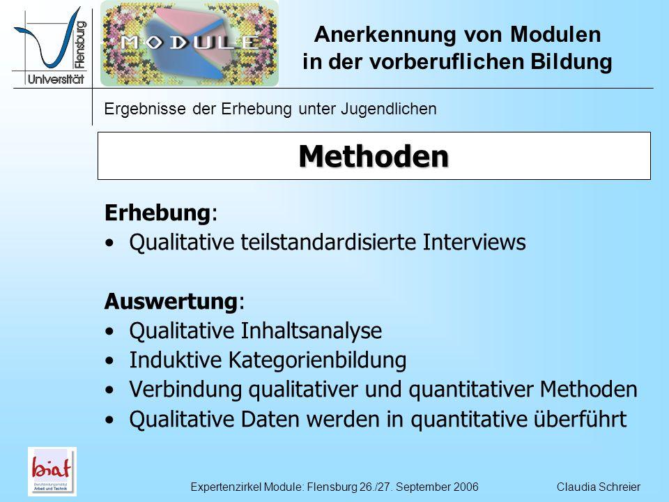 Methoden Erhebung: Qualitative teilstandardisierte Interviews