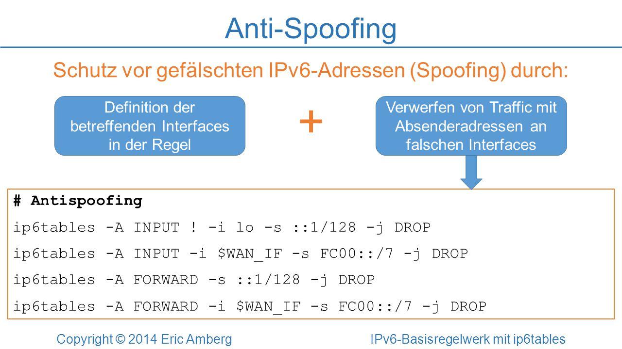 + Anti-Spoofing Schutz vor gefälschten IPv6-Adressen (Spoofing) durch: