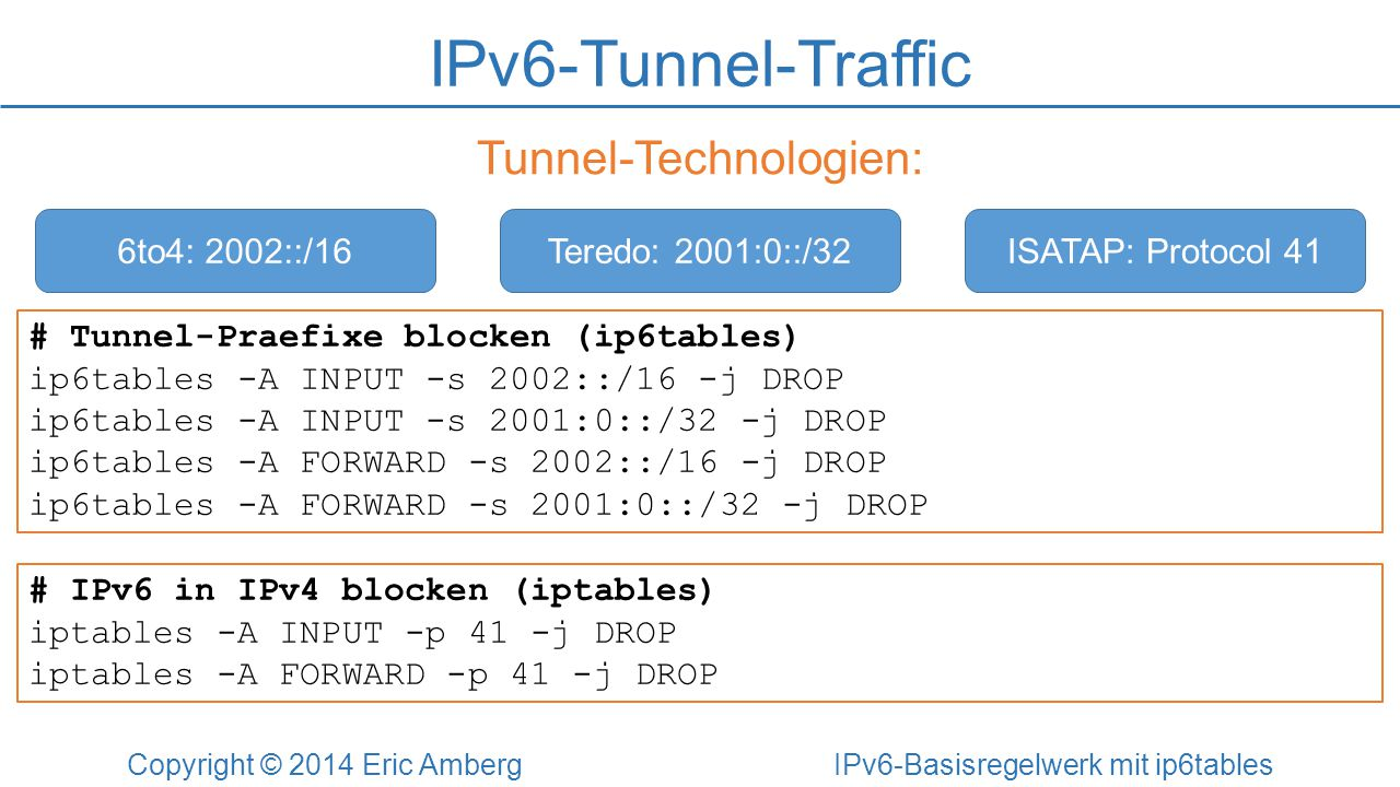 IPv6-Tunnel-Traffic Tunnel-Technologien: 6to4: 2002::/16