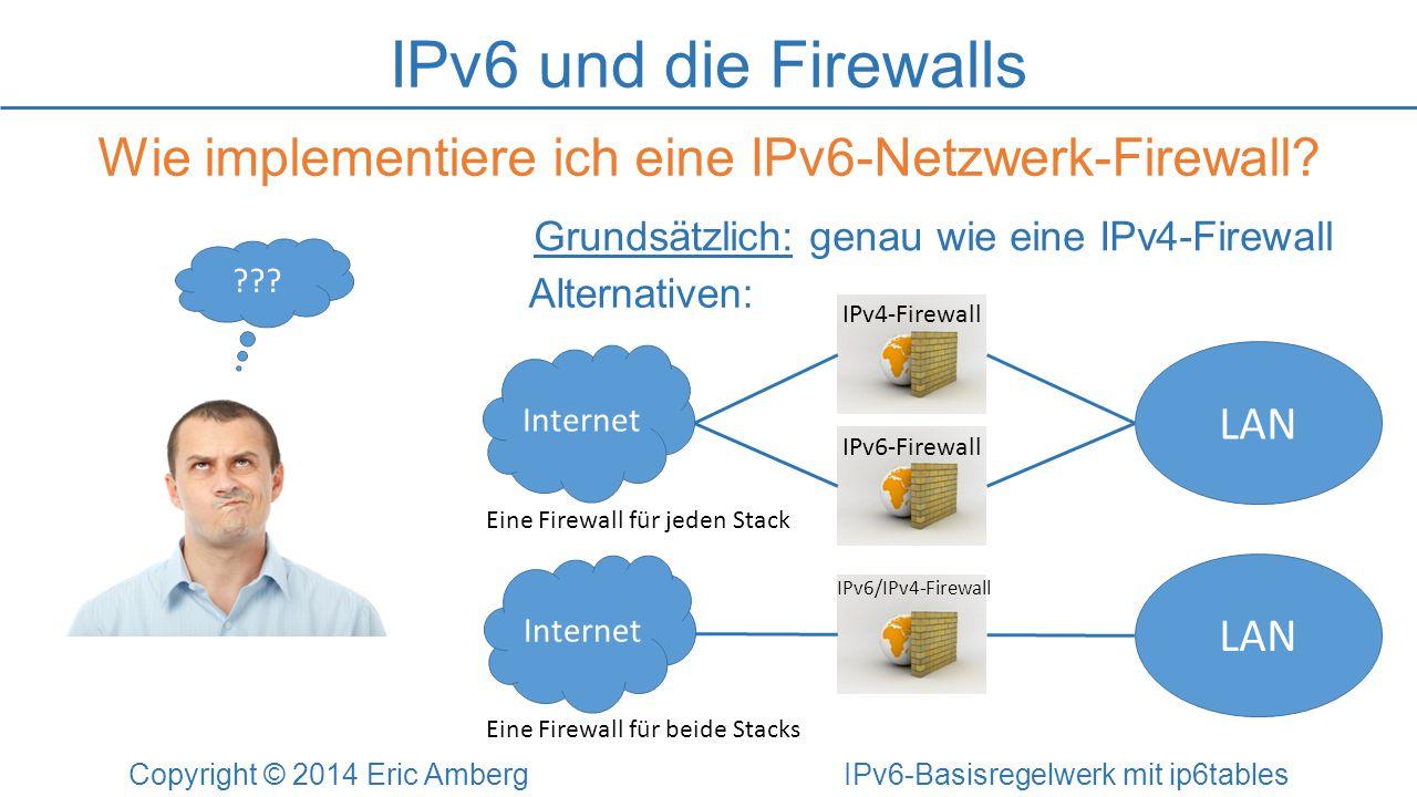 IPv6 und die Firewalls Wie implementiere ich eine IPv6-Netzwerk-Firewall Grundsätzlich: genau wie eine IPv4-Firewall.