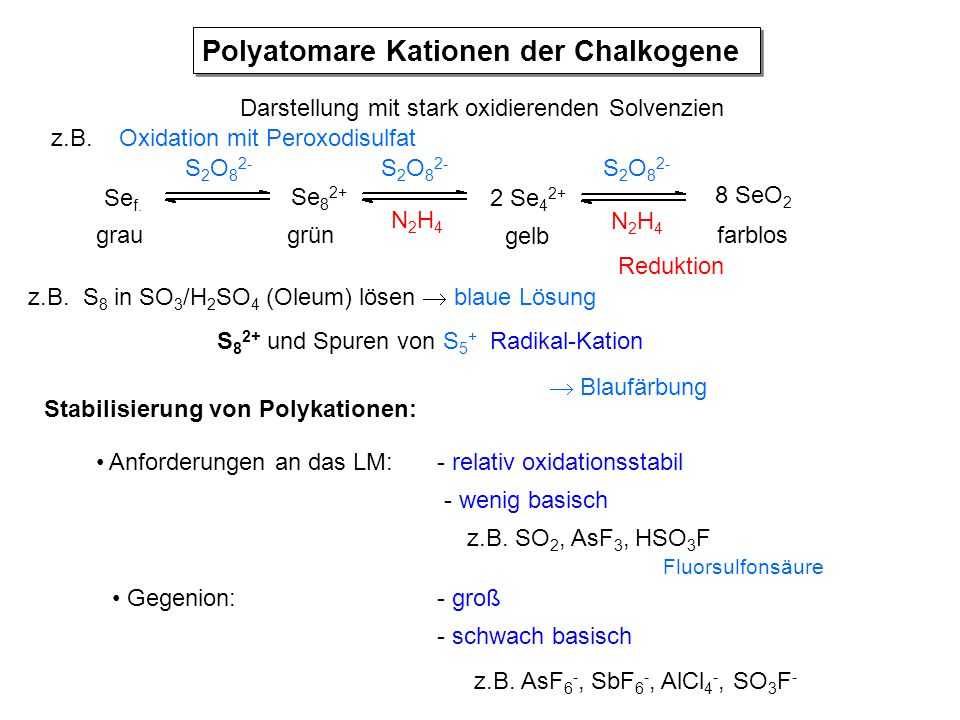 Polyatomare Kationen der Chalkogene