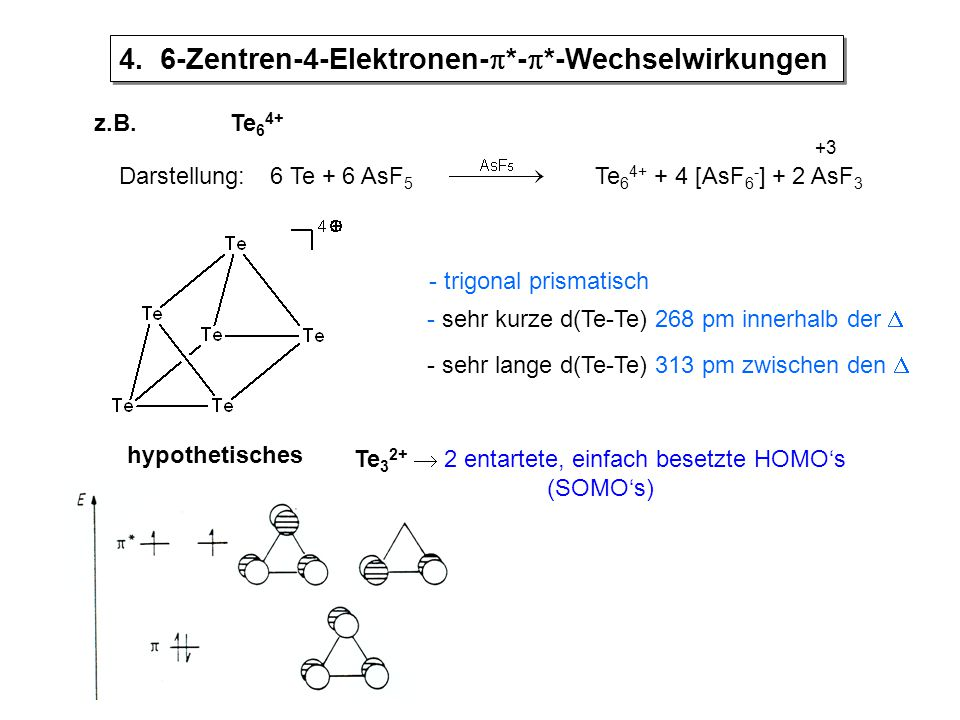 Te32+  2 entartete, einfach besetzte HOMO's (SOMO's)